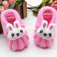 Lovely Knitted Rabbit Decor Crib Shoes for Baby Girl