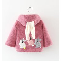Adorable Rabbit Applique Long-sleeve Hooded Coat for Baby