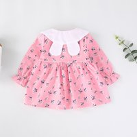 Cute Wildflower Print Rabbit Collar Long-sleeve Dress