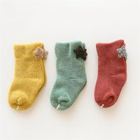 3-pairs Causal Cartoon Pattern Decor Solid Thick Socks