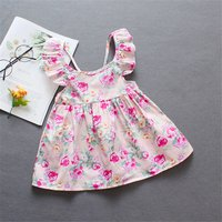 Chic Flower Allover Flounced Design Backless Dress