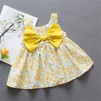 Chic Flower Patterned Solid Bow Decor Sleeveless Dress