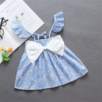 Cute Floral Print Bow Decor Flutter-sleeve Strap Dress