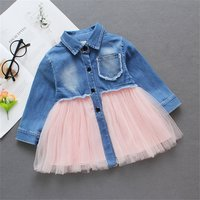 Pretty Lapel Collar Frayed Denim and Mesh Splice Dress
