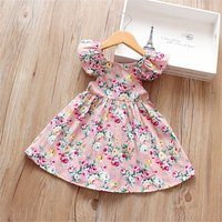 Pretty Floral Print Backless Tie-up Flutter-sleeve Dress