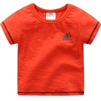 Little Crane Print Short-sleeve Red Tee for Boys