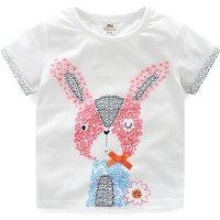 Toddler Girl's Fresh Flowers Rabbit Printed Cotton Tee