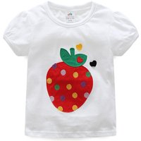 Cute Strawberry Appliqued Short Sleeve Tee in White for Girl