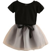 Short-sleeve Black Tee and Tulle Skirt Set for Baby and Toddler Girls
