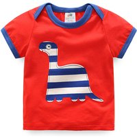 Stripes Dino Applique Envelop-sleeve Red Tee for Boys