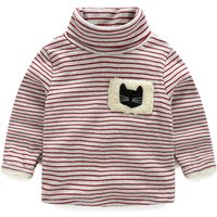 Embroidered Cat Stripes Plush Lined Turtleneck Pullover for Toddler/Kid