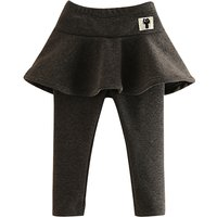 Trendy Solid Plush Lined Skirt Leggings for Baby Girl/Girl
