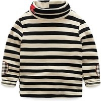 Classic Striped Fleeced Lining Turtleneck Pullover for Toddler/Baby Boy