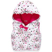 Sweet Star Print Bow Decor Hooded Quilted Vest for Toddler Girl and Girl