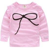 Bright Flounced Bow Print T-shirt for Girl