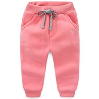 Comfy Solid Embroidered Dog Fleece Pants for Toddler Girl and Girl