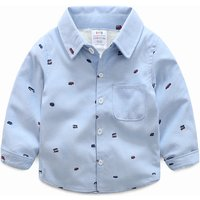 Handsome Car Print Plush Lined Navy Shirt for Baby Boy/Boy