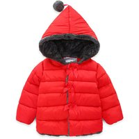 Lovely Pompom Decor Hooded Winter Coat for Little Girls