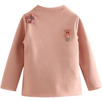 Sweet Appliqued Floral and Rabbit Fleece Lined Pullover for Girls