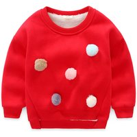 Cute Pompom Decor Plush Lined Pullover for Girls