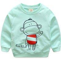 Lovely HELLO Monkey Print Long-sleeve Pullover for Toddler Boy/Boy