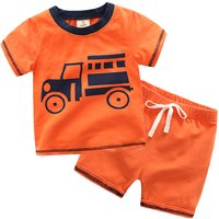 2-piece Cool Animal Car Print Short Sleeves Tee and Shorts for Boys