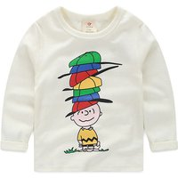 Funny Boy with Hats Long-sleeve White Tee for Baby and Toddler Boys
