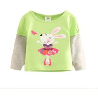 Super Cute Rabbit Print Long Sleeves Top for Baby and Toddler Girls