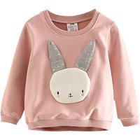 Sweet Appliqued Rabbit Sweatshirt in Pink for Girl