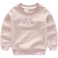 Lovely Cat Print Striped Long Sleeves Top for Girls