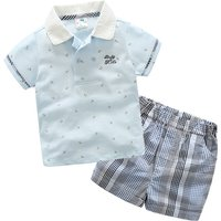 2-piece Casual Short-sleeve Shirt and Plaid Shorts for Boys