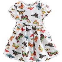 Happy Butterfly Print Short Sleeves Dress in White for Toddler Girl