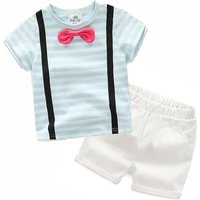 Trendy Striped Bow Tie Short-sleeve T-shirt and Shorts Set in Blue for Toddler Boy and Boy