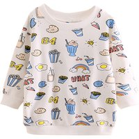 Trendy Food Print Pullover in White for Toddler Girl and Girl