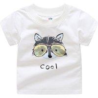 Cool Raccoon Print Short Sleeves Tee for Boys