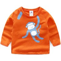 Playful Monkey Print Long Sleeves Top for Boys