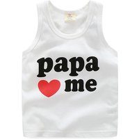 Cute PAPA Print Tank Top in White for Toddler Boy and Boy