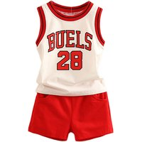 2-piece Sporty Letter Tank Top and Shorts Set for Boys