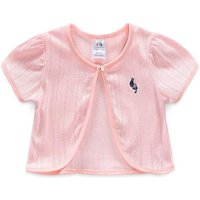 Trendy Solid Embroidered Rabbit Short-sleeve Cardigan for Toddler Girl and Girl