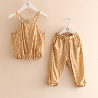 2-piece Trendy Polka Dotted Strap Top and Pants Set for Girls