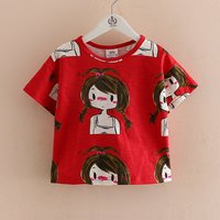 Stylish Cartoon Print Short-sleeve T-shirt in Red for Toddler Girl and Girl
