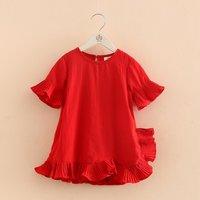 Girl's Pretty Solid Ruffle-hem Dress in Red