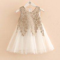 Fairy Flower Embroidered Sleeveless Tulle Dress for Toddler Girl