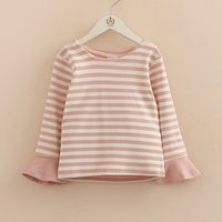 Casual Striped Flare-sleeve Top for Girl
