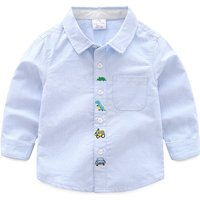 Trendy Embroidered Cartoon Long-sleeve Shirt for Toddler Boy and Boy