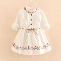 Pretty Embroidered Pleated Long-sleeve Dress for Toddler Girl and Girl