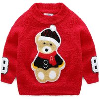 Fashionable Bear Appliqued Sweater for Toddler Boy and Boy