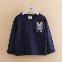 Cute Pocket Mouse Embroidered Top for Toddler Girl and Girl