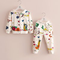 2-piece Allover Print Hooded Top and Pants Set for Toddler Girl and Girl