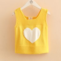 Cute Heart Knitted Tank Top for Toddler Girl and Girl